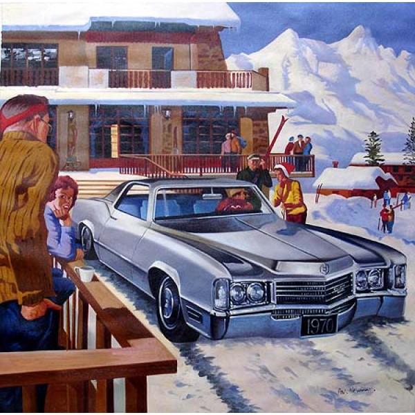 1970 Cadilac Eldorado Snow oil painting