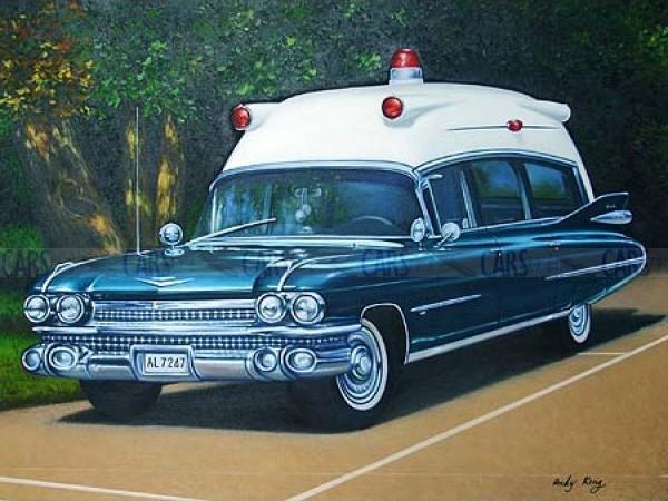 1959 Eureka Cadillac Ambulance oil painting